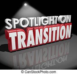 diferente, transición, proyector, palabras, transformación,...