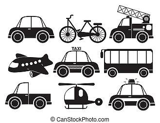 diferente, veículos, tipo