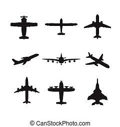 diferente, vector, aviones, conjunto, icono