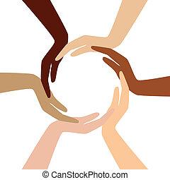 diferente, vector, -, círculo, mano