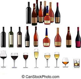 diferente, vector, conjunto, bottles.