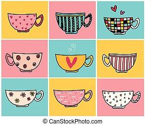 diferente, vendimia, color, café, mano, diseños, plano de fondo, garabato, tazas, dibujo