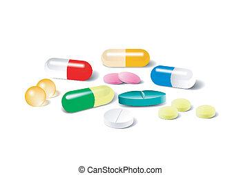 diferente, vetorial, fundo branco, pílulas