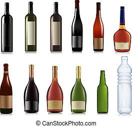 diferente, vetorial, jogo, bottles.