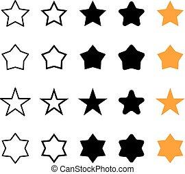 diferente, vetorial, jogo estrela, ícones