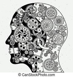 diferente, vetorial, relógio, steampunk, cabeça, mecanismo, mão, estilo, human, ilustrações, desenhado, cogwheels.