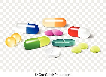 diferente, vetorial, transparente, fundo, pílulas