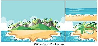 diferente, vistas, três, oceânicos