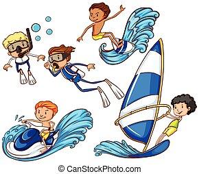 diferente, watersports, crianças, desfrutando