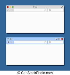 diferente, windows., dois, vetorial, em branco, browser