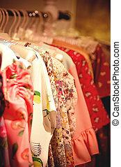 diferir, moda, escolha, roupas