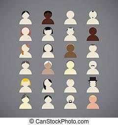 diferrent, naciones, colección, gente
