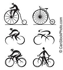 différemment, appelé, cyclisme, icônes