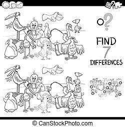 différence, coloration, tache, livre, oiseaux