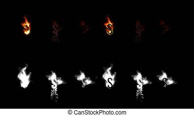 différence, lettres, brûlé, dollar, channel., police, signe, quatre, alpha, digits., type, fire.