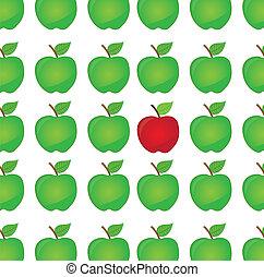 différence, vecteur, pomme