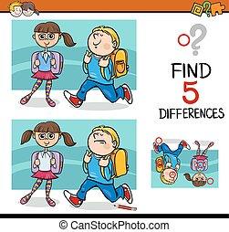 différences, activité, gosses