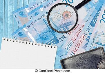 différences, bourse, rubles, faux, magnifier, notepad., argent., argent, détails, recherche, concept, factures, verre, 2000, noir, russe, détecter, faux