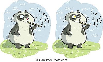 différences, flûte, jeu, visuel, panda