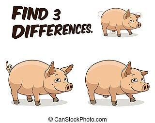 différences, illustration, cochon, jeu, vecteur, trouver