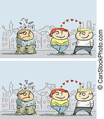 différences, jalousie, jeu, visuel