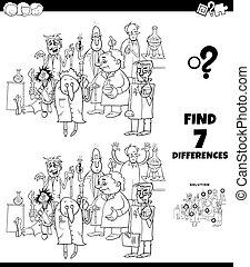 différences, jeu, dessin animé, scientifiques, coloration