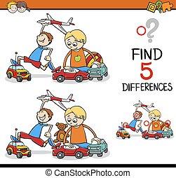 différences, trouver, activité