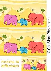 différences, trouver, dix, éléphants