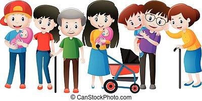 différent, âges, famille, gens