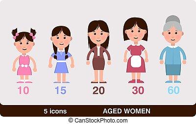 différent, âges, femmes
