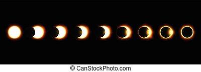 différent, éclipse, phases, vecteur, lunaire, solaire