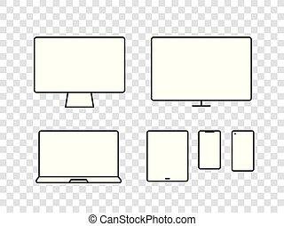 différent, éléments, média, moderne, vecteur, pictograms, collection., appareil