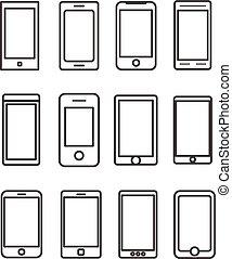 différent, éléments, mobile, collection., résumé, gadgets, conception