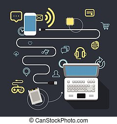 différent, éléments, moderne, connection., appareils, conception