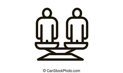 différent, équilibre, balances, humain, icône, course, animation