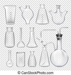 différent, équipement, chimique, jars., fioles, vecteur, réaliste, illustrations, laboratory.