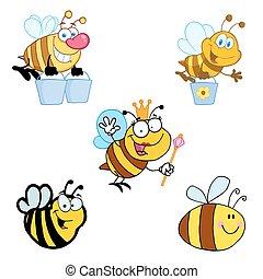 différent, abeille, dessin animé