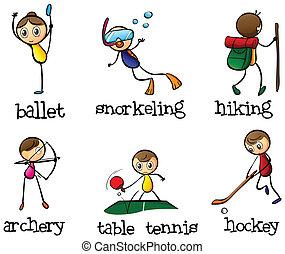 différent, activité sports