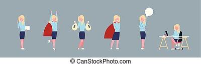 différent, affaires femme, bureau, situations, ouvrier, collection, ensemble, femme affaires, horizontal, bannière, constitué, icône