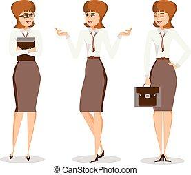 différent, affaires femme, réussi, ensemble, poses