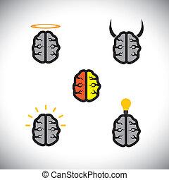 différent, aimer, icônes, cerveaux, génie, créatif, vecteur, types