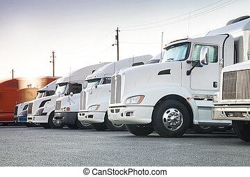 différent, américain, rang, camions