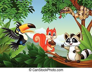 différent, animaux, scène, dessin animé, forêt