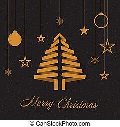 différent, arbre, decorations.n., vecteur, fond, noël