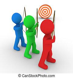 différent, archers, viser, et, a, cible