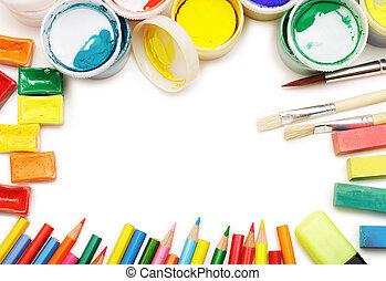 différent, arrangé, coloré, instruments, cadre, artist's