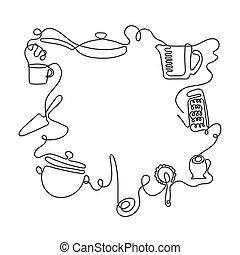 différent, art, utensils., coutellerie, une, arrière-plan., vecteur, dessin ligne, cuisine