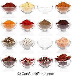 différent, assaisonnement, variété, isolé, bols, verre, fond...