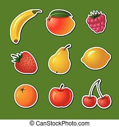 différent, autocollants, fruits