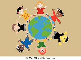 différent, autour de, coloré, tout, sur, bras, planète, sauter, mondiale, la terre, heureux, enfants, dehors